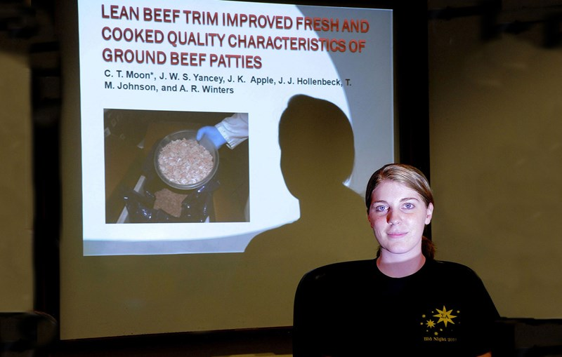 "Courtney Moon shows the title slide from her presentation on a research project that found that ground beef patty quality was improved by adding ""lean finely textured beef."""