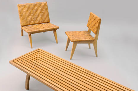 These woven chairs and table were designed by renowned American architect  Edward Durell Stone, an