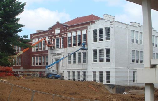 Renovation of Peabody Hall, which includes removing white paint to reveal the original brick, should finish in 2011.