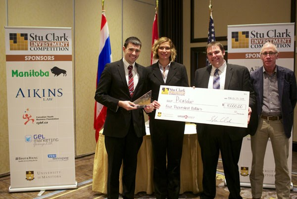 Picasolar members (from left to right) Michael Miller, Trish Flanagan and Matthew Young pose with Stu Clark, an oil and gas entrepreneur and alumnus of the University of Manitoba.