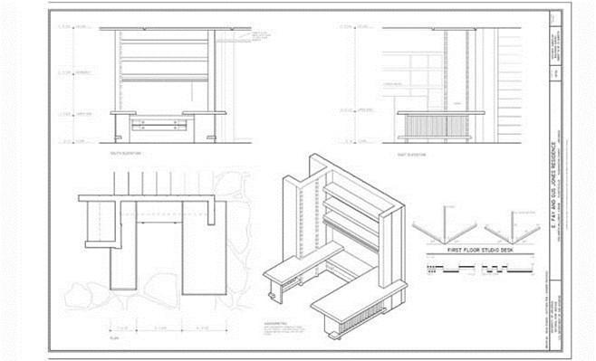 Architecture Studio Desks fay jones house architectural drawings on exhibit at vol walker