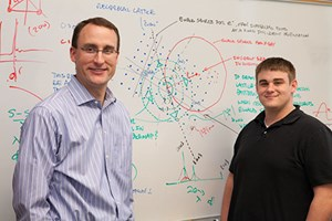 Doug Spearot (left), associate professor of mechanical engineering, and doctoral student Shawn Coleman received an award of supercomputer time through the Extreme Science and Engineering Discovery Environment. Photo by Russell Cothren, University of Arkansas.