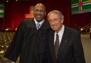 Former Razorback Darrell Walker and former Arkansas coach Eddie Sutton at 2012 Fall Commencement.