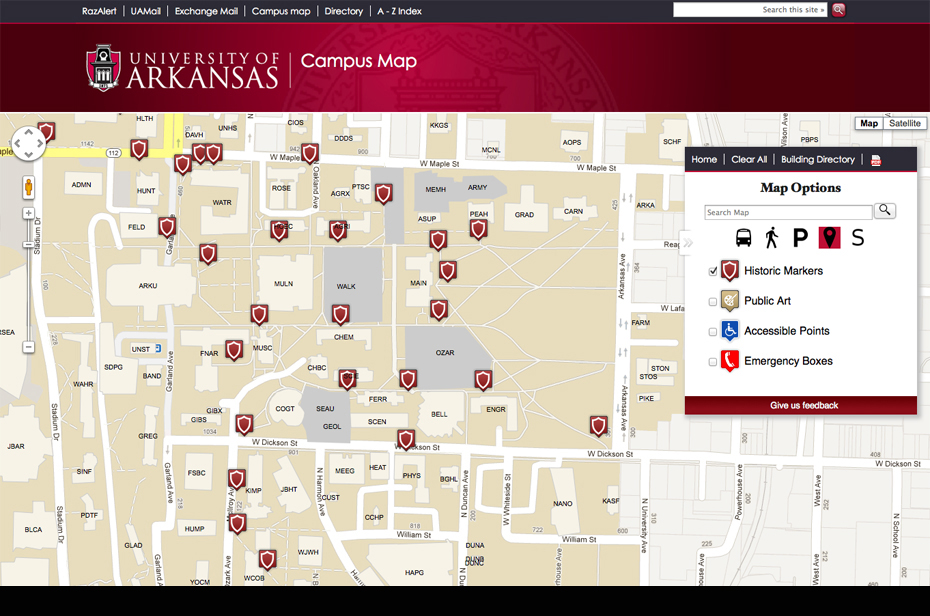 new campus map is interactive integrated university of arkansas