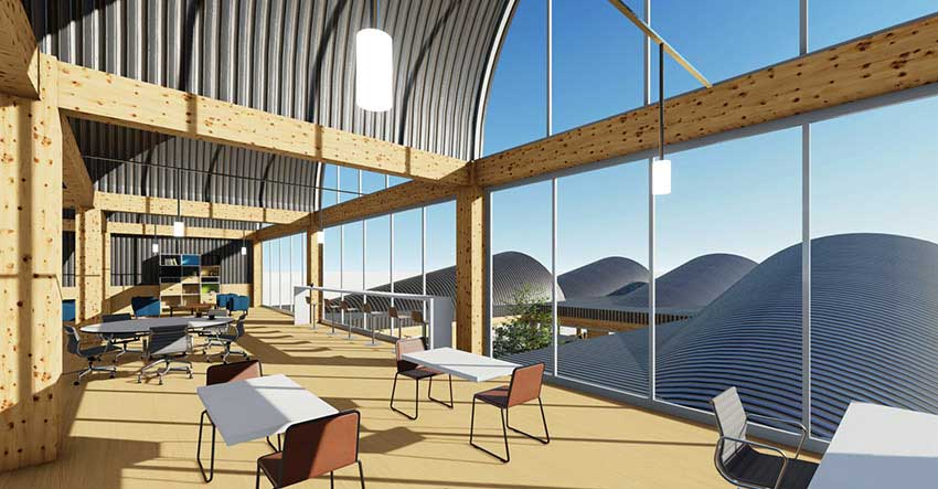 Architectural rendering of an interior space with wood beams