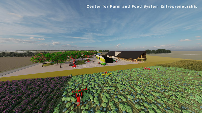 Architectural rendering of the Center for Farm and Food System Entrepreneurship.