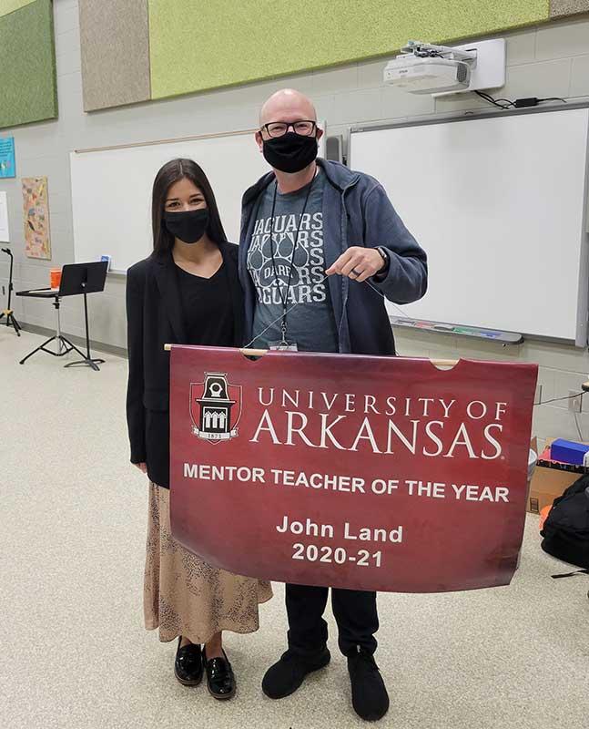 Alexis Newman, left, and mentor teacher John Land