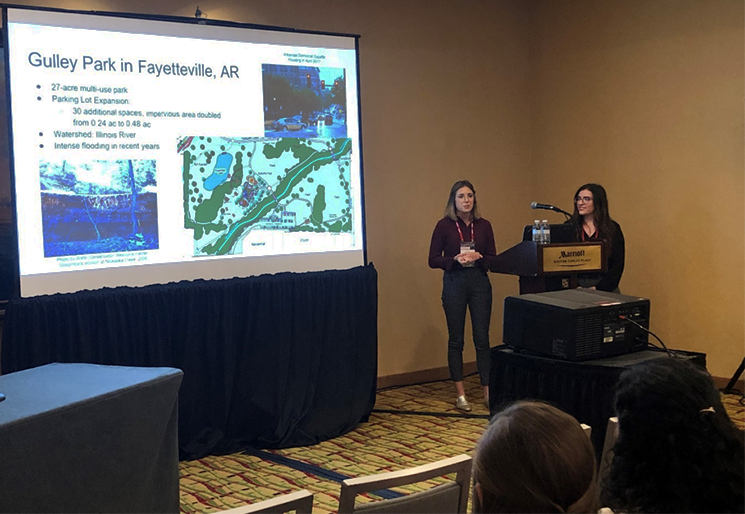 Lillie Haddock and Kristen Connelly present slides of their proposal at the 2019 ASABE International Meeting in Boston.