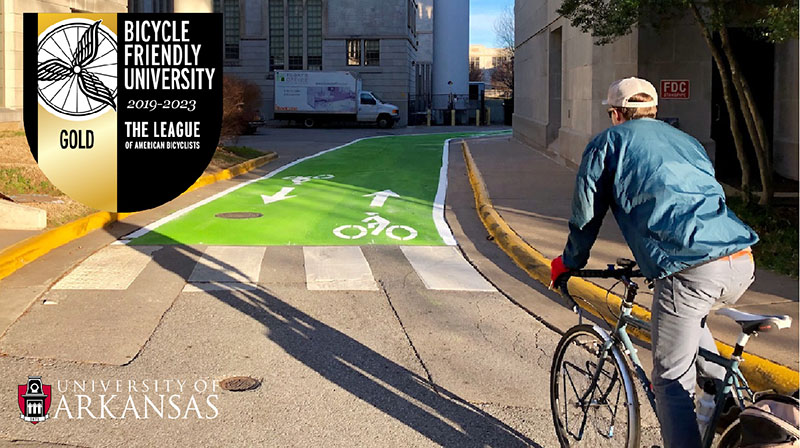 The Discovery bicycle route through campus with the route painted green