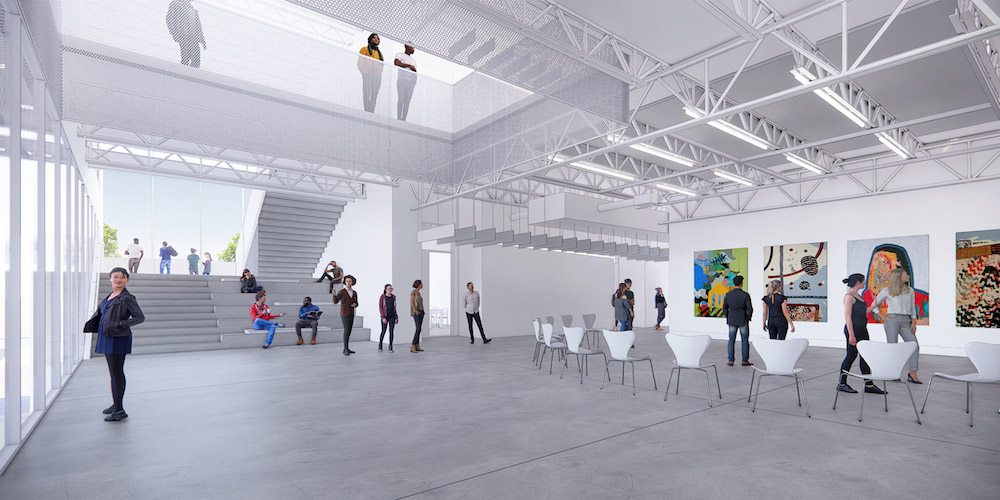 Architectural rendering showing the interior of the design center