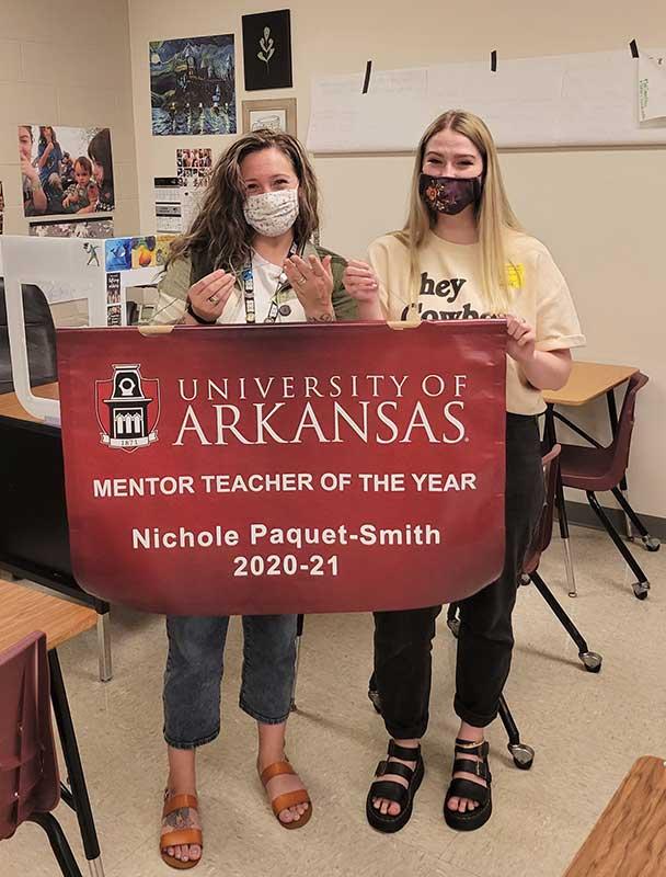 Mentor teacher Nichole Paquet-Smith, left, and Laura Hurst