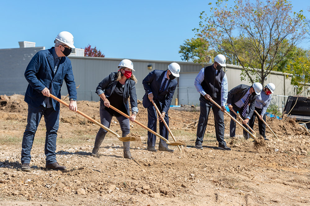 Six dignitaries break ground for the new Windgate Studio and Design Center