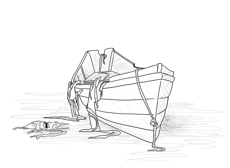 Line drawing of a boat with someone clinging to the side