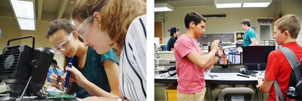 Two images of students working on circuit boards and testing an autonomous robot.