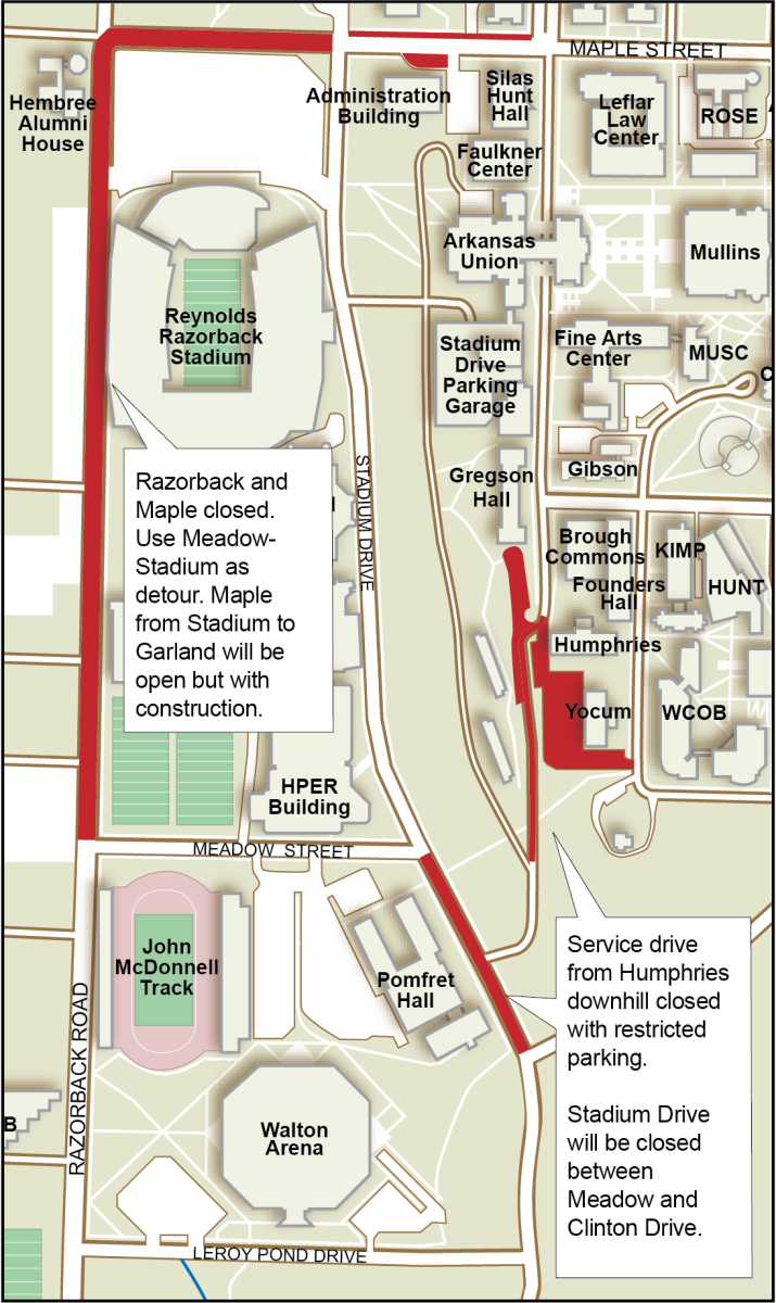 A map shows which streets are affected by construction this summer, including Razorback Road, Maple Street and the service drive between Gregson and Stadium.