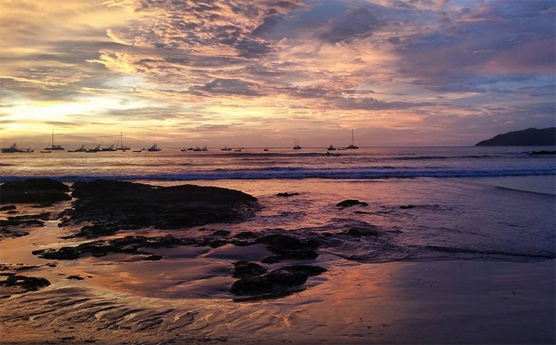 Photo of a Costa Rican beach at sunset.