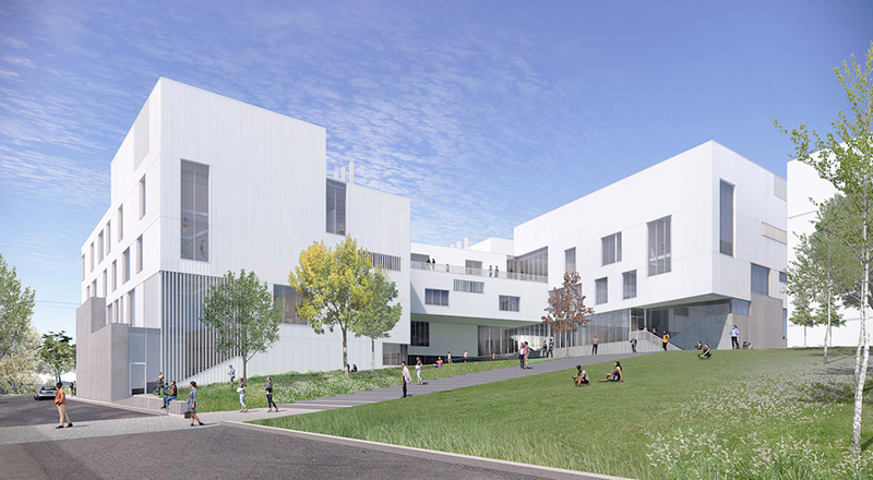 Architectural rendering of the courtyard and design center