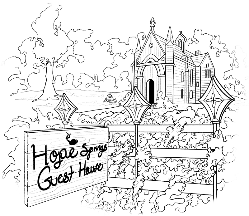"Line illustration of church with sign that says ""Hope Springs Guest House"""