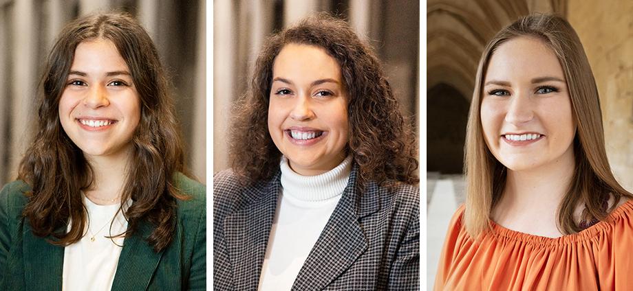 Portrait photos of Sydney Nichols, Emily Snyder and Darci Walton