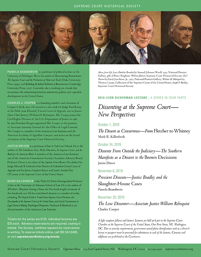 Flier for the Silverman Lecture Series