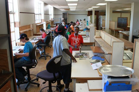 Students work in the studio at Memorial Hall last month during the summer design camp hosted by the Fay Jones School of Architecture.