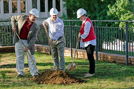 "The Oct. 12 groundbreaking for ""Hawkins Terrace"" and the outdoor student learning center included (from left) Bumpers College Dean Mike Vayda, Bill Hawkins and Suzanne Hawkins."