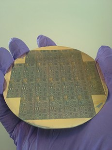The silicon-carbide wafer contains more 1000 individual circuits.