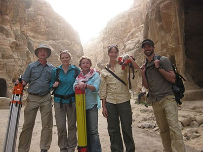 CAST researchers pause to take a group photo on location in Petra. From left to right, Malcolm Williamson, Eileen Ernenwein, Caitlin Stevens, Katie Simon and Adam Barnes