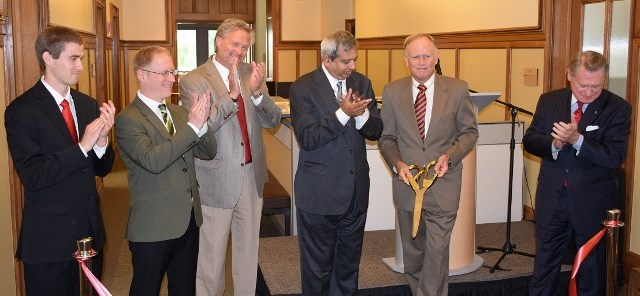 Speakers at the biomedical engineering wing dedication ended the celebration with a ribbon cutting. From left to right: Gage Greening, Aric Lasher, Dean John English, Ashok Saxena, Jim von Gremp, Chancellor G. David Gearhart