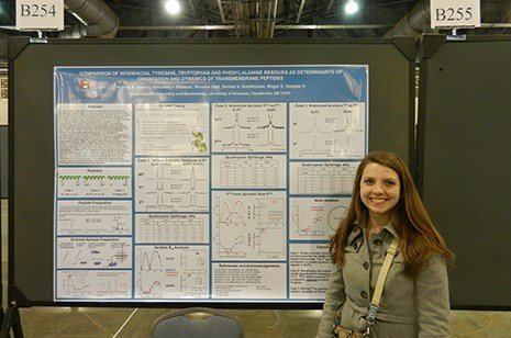 Kelsey Sparks presented her groundbreaking research at the 2013 annual meeting of the Biophysical Society in Philadelphia.