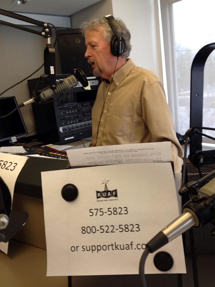 KUAF General Manager, Rick Stockdell, makes the case for listener support on the air during on of KUAF's on-air fundraisers