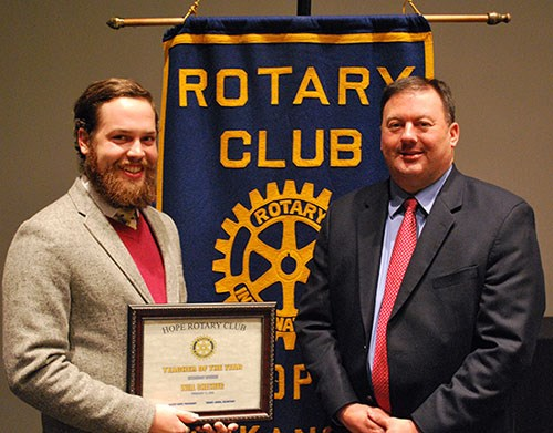 Will Chesher, left, receives the award presented by Bobby Hart, Hope superintendent and president of the Hope Rotary Club.