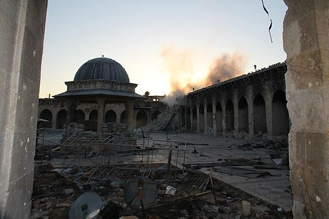 The ancient minaret at the Umayyad Mosque in Syria was destroyed in April 2013.