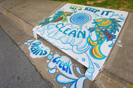 """Keep it Clean"" by Jeffi O'Kane, located at Spring Street and Church Avenue in Fayetteville"