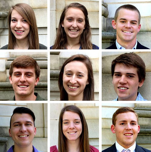 From top left across and then down: Shelby Paschal, Michaela Mertz, Andrew Dominick, Matthew Watters, Taylor Martin, Austin Brown, Rocky Hedrick, Kaitlin Denny and Will Carlisle