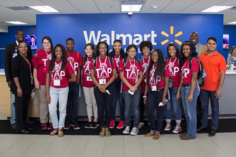 Students in the Technology Awareness Program visit Walmart headquarters in Bentonville.