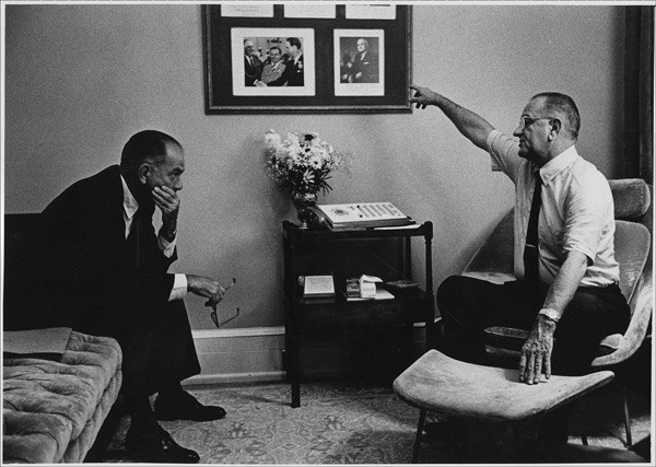 Senator J. William Fulbright and President Lyndon B. Johnson meet at the White House, 28 July 1965.