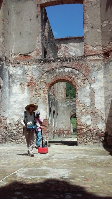 CAST researcher Katie Simon conducts a ground-penetrating radar survey among the architectural ruins of the palace complex at San Souci, Haiti, as part of a SPARC-funded collaboration with Cameron Monroe of the University of California, Santa Cruz.