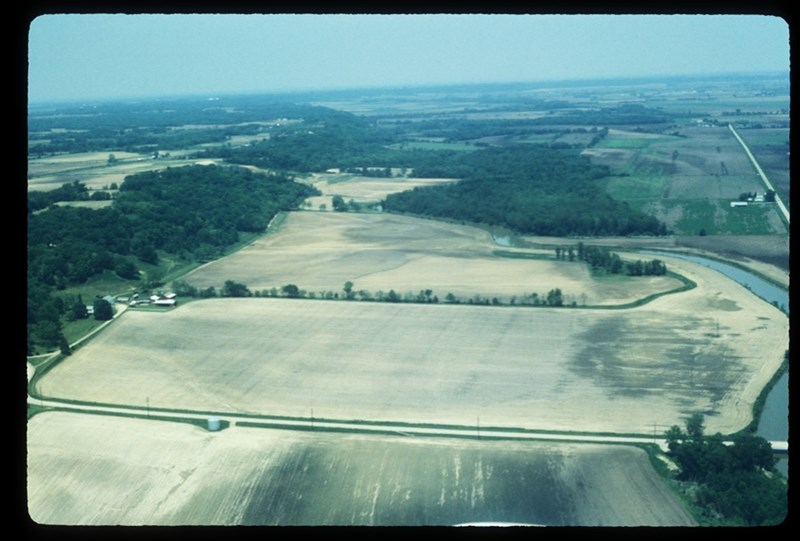 Low-angle oblique air photo of Gast Farm in Iowa.