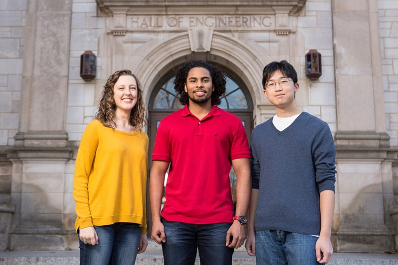 Lauren Feekin (from left), Edgar Escala and Connor Heo are engineering students who have been studying German.