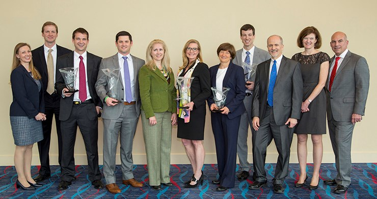 From left: Cynthia Sides, David Zaharoff, Sean Smith, Drew McKinnon, Amy Hardwick, MJ Orellano, Carol Reeves, Corey Coston, Alan Ellstrand, Senior Associate Dean Anne O¹Leary-Kelly, and interim Dean Matt Waller.