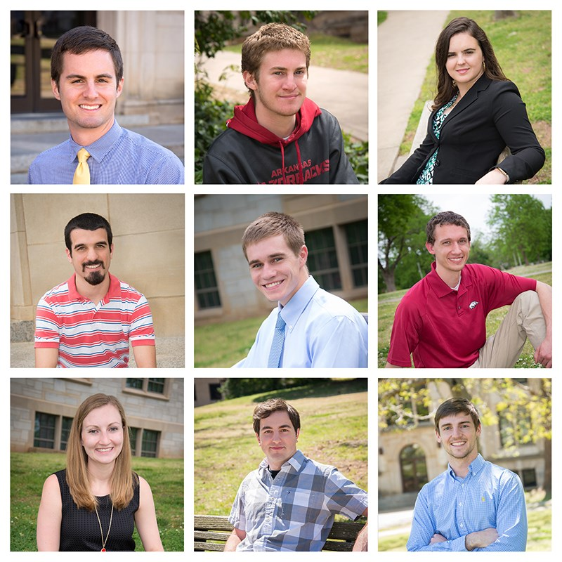 The College of Engineering honored nine Outstanding Seniors. Top row: Ryan DuChanois, Christian Heymsfield, Kaylee Smith. Middle row: Alexander Anderson, Brett Shauwecker, Samuel Jenkins. Bottom row: Kristina Maxwell, Joseph Sirrianni, Daniel Frische.