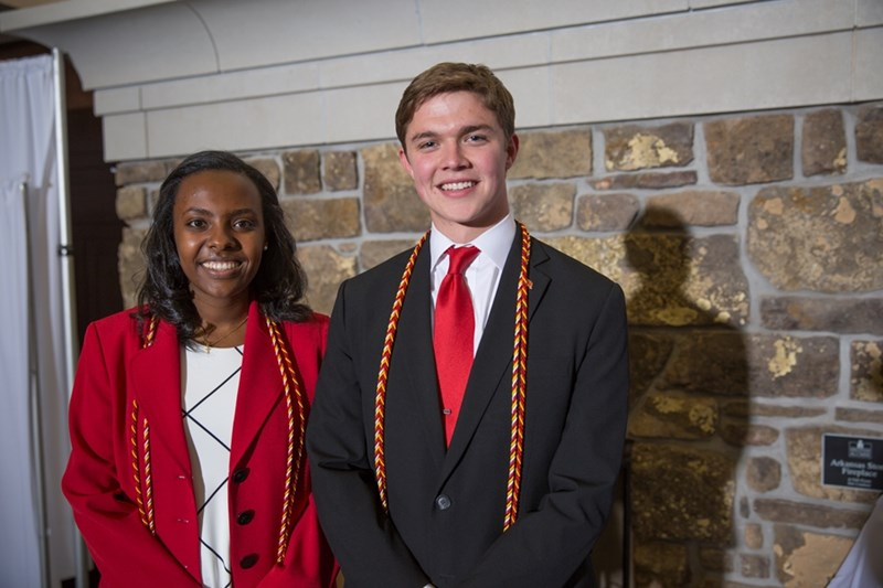 Ailon Haileyesus and Tanner Bone were awarded the Senior Honor Citation May 5 during the Cardinal and White Banquet at the Janelle Y. Hembree Alumni House.