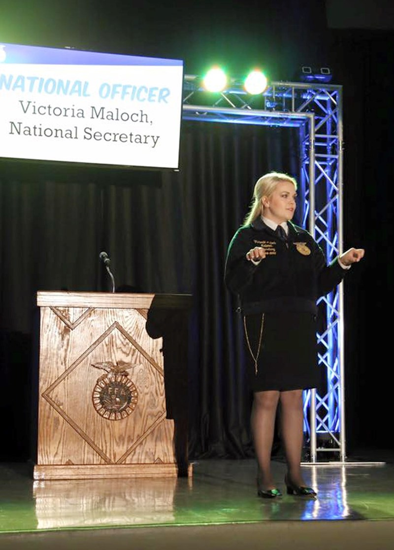 Victoria Maloch, a senior from Magnolia majoring in agricultural business and minoring in agricultural communication, was the first national FFA officer from Arkansas in 21 years.