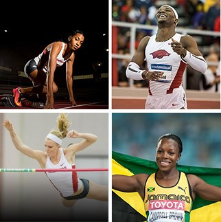 Top from left: Gold medalists Taylor Ellis-Watson and Omar McLeod. Bottom: Silver medalists Sandi Morris and Veronica Campbell-Brown.