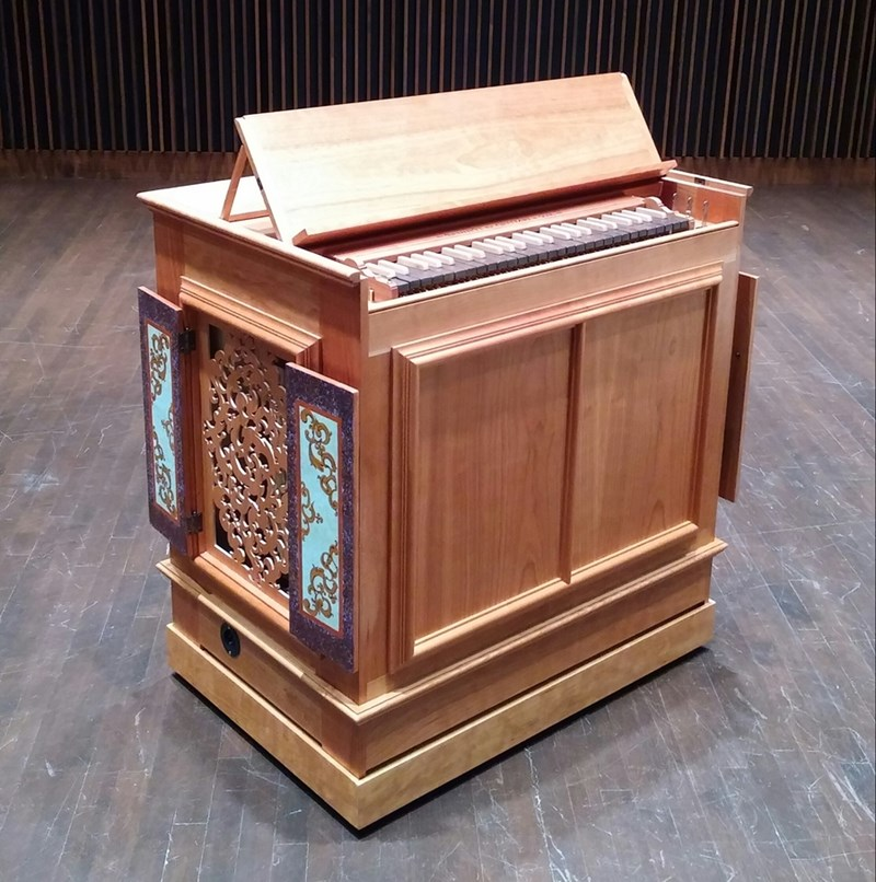 The new Bennett & Guittari 3-rank continuo organ, acquired by the Department of Music.