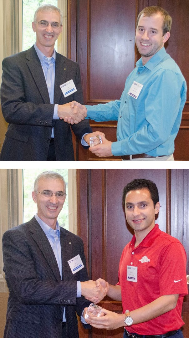 Two U of A students, Bobby Cottam top and Payam Parsa above, tied for first place for the student poster award.