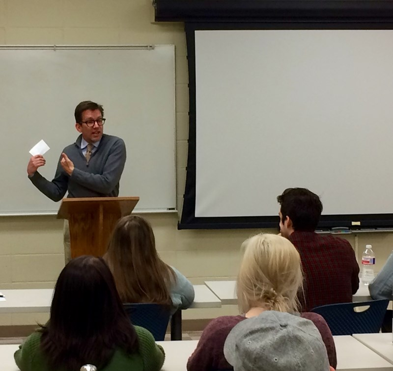 KUAF-FM News Director Kyle Kellams speaks in COMM 298V: Topics in Communication (Interviewing).