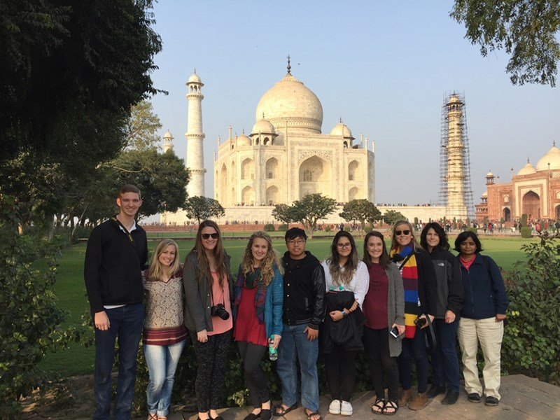 The Bumpers College group participating in the agricultural International Programs trip to India included (from left) Paul Wolf, Macie Kelly, Taylor Pruitt, Tara Harris, Steven Thao, Belkins Tejiera, Jordan Nichols, Molly Claire Laws and Department of Crop, Soil, and Environmental Sciences professors Mary Savin and Vibha Srivastava.