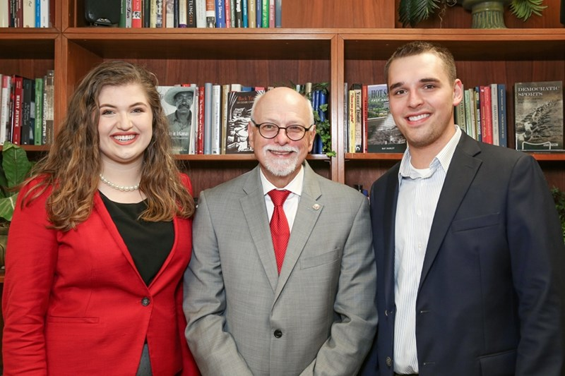 l-r: Ryann Alonso, Chancellor Joe Steinmetz, and  Sam Harris.